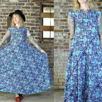 Vintage 70's Batik Print Indian Cotton Full Length Maxi Dress