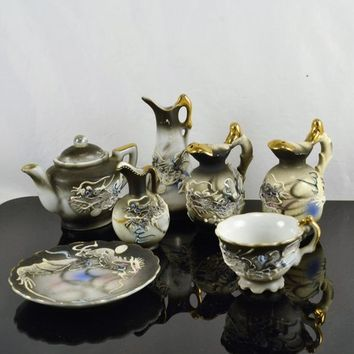 Miniature Dragonware Moriage Salt Pepper Teapot Vases Plate Teacup Gold Trim Blue Eyed Dragon Japan Lot 7 Items