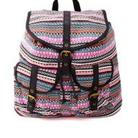 Tribal Striped Canvas Backpack by Charlotte Russe - Multi