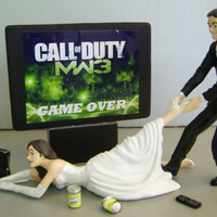 VIDEO Game 'junkie' BRIDE - Customized Wedding Cake Topper.  New Design - The ORIGINAL Video Game cake topper....not a copy cat.