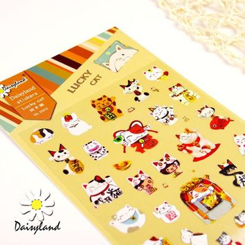 1 Sheet Lucky Cat Cartoon Daisyland Scrapbook PET Paper Kawaii Stickers Diary Decal Post It Phone Sticker Flakes 1023