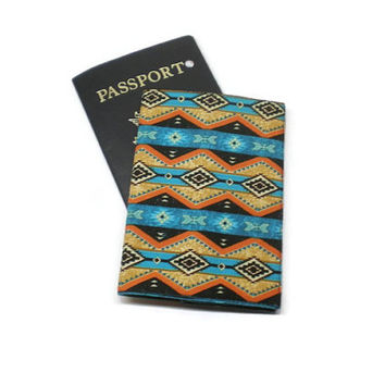 Southwestern tribal Aztec style fabric passport cover case holder, monogrammed personalized. Traveler gift, mother's day gift.