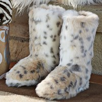 Faux Fur Booties - Snow Leopard