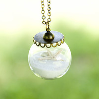 Sandy Shores Sand Glass Pendant Bronze Necklace