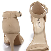 Anne Michelle Enzo 01N Nude Nubuck Single Strap Heels