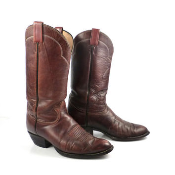 Cowboy Boots Vintage 1980s Distressed Tony Lama Leather Whiskey Brown  Men's 9