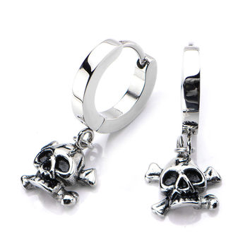Inox 316L Stainless Steel Dangling Pirate Skull Huggie Hoop Earrings