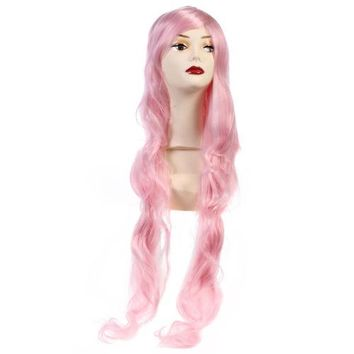 90cm down to Waist Cosplay Anime Wig Pink Long finger wavy Hair cap