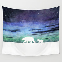 Aurora borealis and polar bears (white version) Wall Tapestry by Savousepate