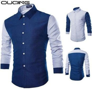 2016 New Arrival Shirt Men Long Sleeve Casual Shirt Slim Fit Polka Dot Brand New Blue/White Men Tops Clothes Chemise Homme 090
