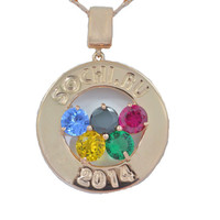 Sochi Olympics Medallion 2014 Gemstones Pendant 14Kt Rose Gold Plated