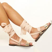 Women sandals with interchangeable silk scarf laces. Fully Customizable. NIOVI 04 - Free standard shipping