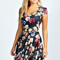 Dahlia Floral Print Sweetheart Skater Dress