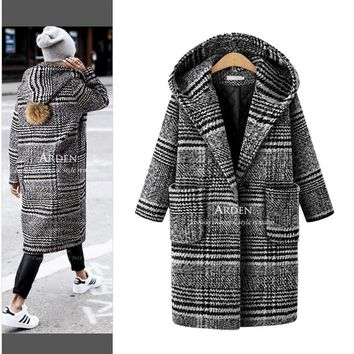 Women's Autumn Winter New Loose Thick Long Hooded Plaid Long Style Woolen Fabric Coat