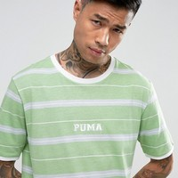 Puma Retro Stripe T-Shirt In Green Exclusive to ASOS at asos.com