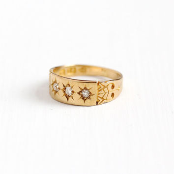 Antique Victorian 18k Yellow Gold Old Cut Diamond Ring Band - Size 6 Vintage Hallmarked English Chester Fine Bridal Wedding Star Jewelry