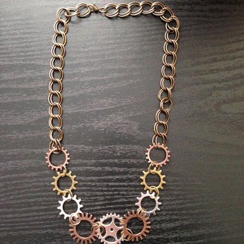 Trendy Steampunk Gear Statement Jewelry Necklace, Steampunk Gear Necklace, Steampunk Statement Necklace, Womens Fashion Jewelry