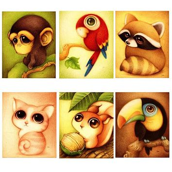 Mosaic Needlework 5D Diy Diamond Painting Cartoon Animal Picture for Child Cross Stitch round Rhinestone Drill Embroider