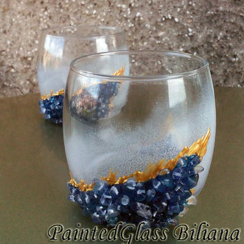 Geode theme Set of 2 hand painted decorated whiskey glasses Geode design in blue color