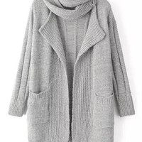 Light Grey Shawl Collar Pockets Knit Long Sleeve Cardigan