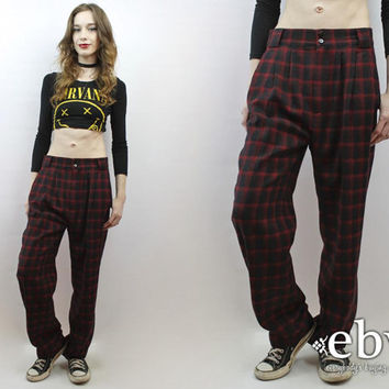 Red Plaid Trousers Wool Trousers Red Plaid Pants Wool Pants Menswear Pants 90s Pants 90s Trousers 90s Grunge Pants 1990s Pants M L