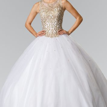 White quinceanera ball gown prom dress gls 2207