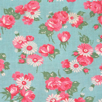 Vintage Feedsack Flour Sack Fabric Aqua with Pink Roses Floral 28 x 38 inches