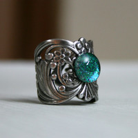 Shadowlands Cuff Style Antique Silver Ring