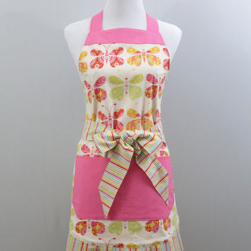 Women's Apron, Pleated Bottom, Butterfly Multi-Color Print, Striped, Pink with White Polka Dots, Fully Lined, 100% Cotton