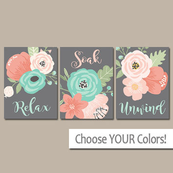 Coral Aqua Gray BATHROOM Wall Art, CANVAS or Print, Flower Bathroom Decor, Floral Bathroom Quote Pictures, Relax Soak Unwind, Set of 3 Art