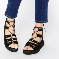 Park Lane | Park Lane Chunky Gladiator Suede Flat Sandals at ASOS