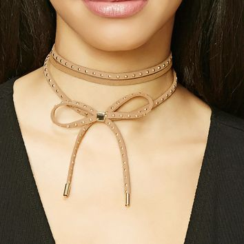 Layered Studded Bow Choker