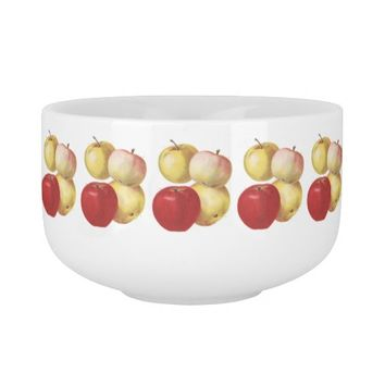 4 vintage apples illustrated cup soup bowl with handle