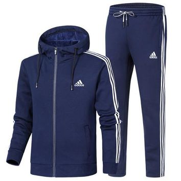 ADIDAS 2018 autumn and winter new plus velvet thickening casual hooded jacket sweater two-piece blue