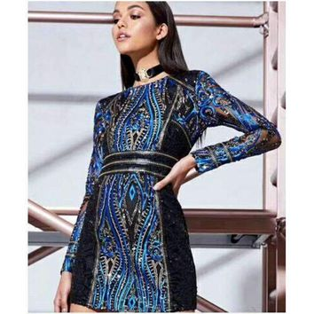 Women Long Sleeve Sequin Dress Celebrity Vestidos Special Occasion Prom Cocktail Party Dresses Slim Bodycon Mini Dress