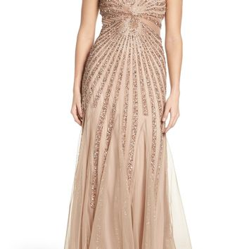 Adrianna Papell Embellished Mesh Fit & Flare Gown   Nordstrom