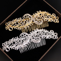 Wedding Hair Jewelry Bridal Sparkling Silver/Gold Plated Crystal Rhinestone Feather Hair Combs Hairpin Hair Accessories F1604