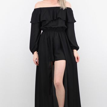 Sleeved Off Shoulder Maxi Cape Romper {Black}
