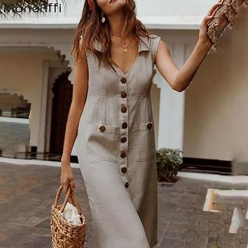 MoneRffi 2020 Summer Dress Boho Style V Neck Waist Plus Size Casual Solid Color Sleeveless V Neck Pockets Midi Dress