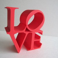 3D Printed Home Decor LOVE Block Sculpture Pop Art Iconography Kitsch Poems Iconic Image Letters Alphabet 3-D Print Geekery