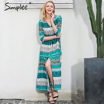 Simplee Sexy split boho paisley print dress Women vintage strappy long dress Summer causal maxi beach dress vestidos 2016