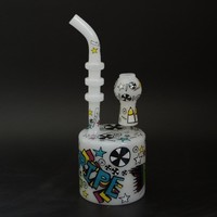 White nexus glass puck Dab Rig with 14.5mm joint and colorful decals glass water pipes puck bong