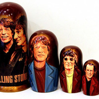 FREE SHIPPING Nesting doll Rolling Stones set of 5 psc traditional Russian wood art hand painted souvenir girl matreshka doll Russian wood