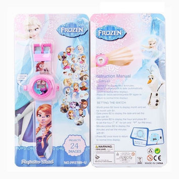20 patterns Hot Sale Elsa Princess Pokemon Photographt Kids Watch 24 Pattern Digital Children Watch Girl Boy Projection toys