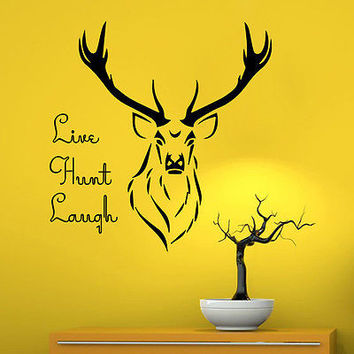 Wall Decal Quotes Live Hunt Laugh Decal Deer Vinyl Home Decor Sticker Art MR684
