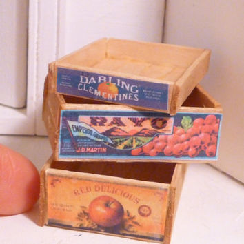 Miniature Dollhouse Wooden Fruit Crates