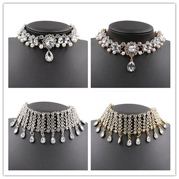 Rhinestone choker statement necklaces for women  Chockers Collar party Chunky Necklace Collier Fashion Jewelry