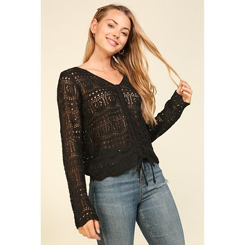 Long Sleeve Macrame Sweater top with Front Tie - Black