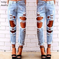 Jeans Woman 2015 Plus Size Light Blue Solid Novelty Skinny Full length Ripped Jeans for women