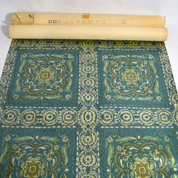 Versailles... Vintage 50's 60's Made In France Metallic French Blue Green Patterned Wallpaper 2 Rolls